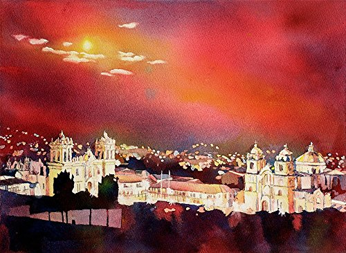 Fine art poured watercolor painting of colonial churches on the Plaza de Armas in the Incan city of Cusco at night- Sacred Valley, Peru - Plaza Valley