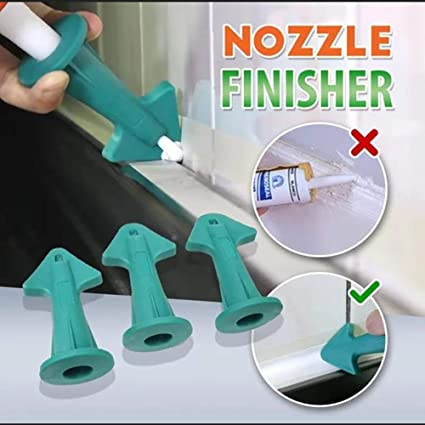 Blue Rubber Sealant Nozzle Plus Scrapers Set Trowel Nozzle Plus Silicone Caulking Tools for Tile or Brick Joints 3Pcs Sealant Wiper for Fill in Cracks /& Remove Excess Filler
