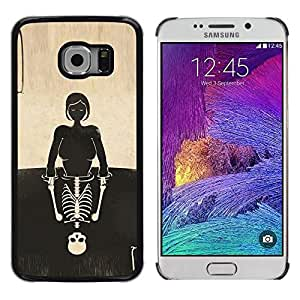 Eason Shop / Hard Slim Snap-On Case Cover Shell - Skull Girl Reflection Deep Meaning - For Samsung Galaxy S6 EDGE SM-G925