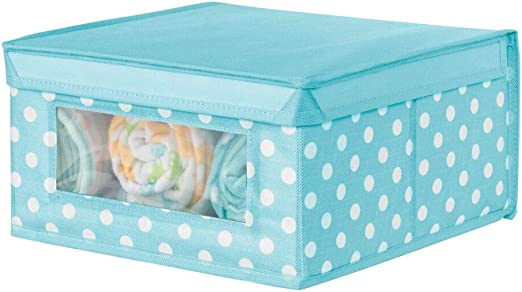 mDesign Caja apilable mediana – Caja con tapa para guardar ropa de ...