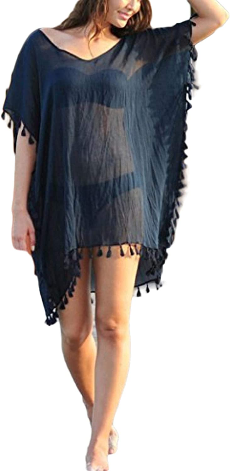 RtuuxZDd Womens Beach Dress Chiffon Solid Color Loose Cover up
