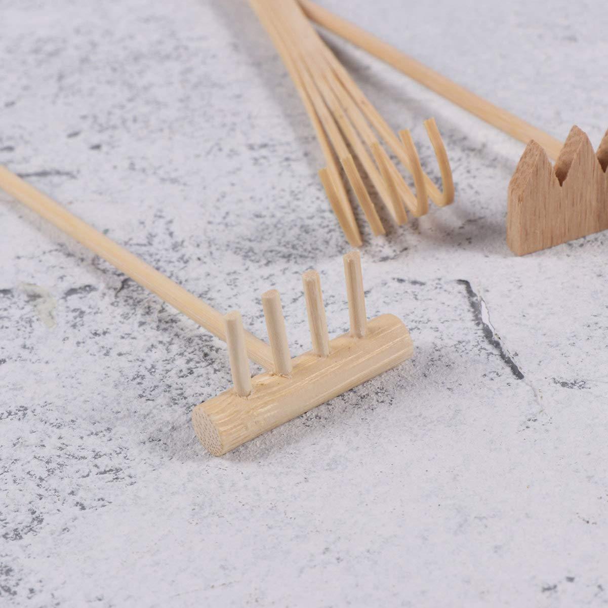 HEALLILY Mini Juego de Herramientas de jard/ín de Madera Que Incluye rastrillos Pluma de Dibujo de bamb/ú Que Empuja la Pluma de Arena 4 Piezas