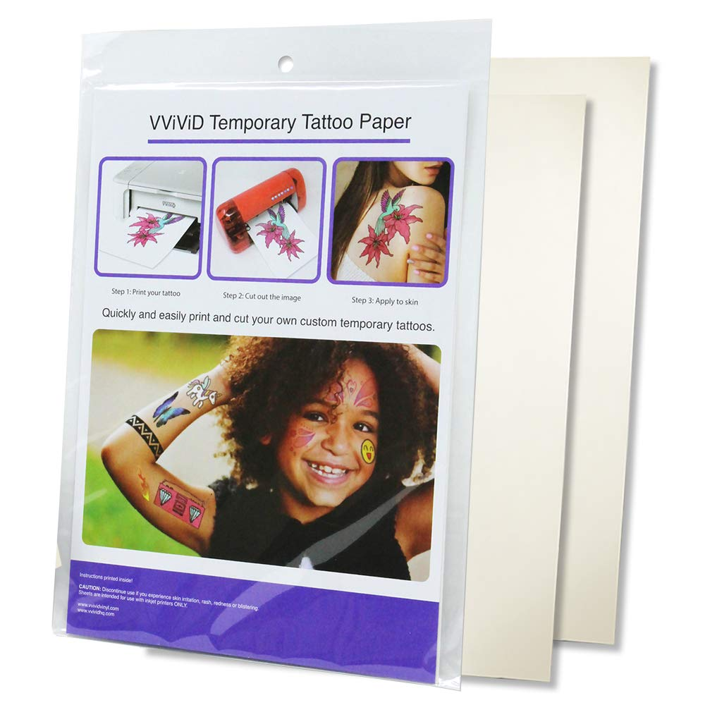 VViViD A4 Size Quick Apply Custom Inkjet Temporary Rub-On Tattoo Paper 2-Sheet Pack