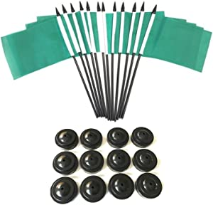"""BOX of 12 Solid Green 4""""x6"""" Miniature Desk & Table Flags With 12 Flag Stands, 4x6 Solid Green Small Mini Stick Flags"""
