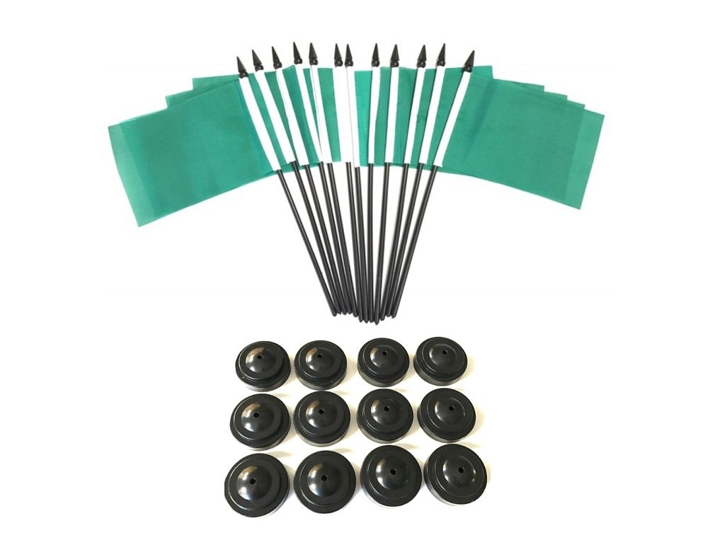 BOX of 12 Solid Green 4''x6'' Miniature Desk & Table Flags With 12 Flag Stands, 4x6 Solid Green Small Mini Stick Flags