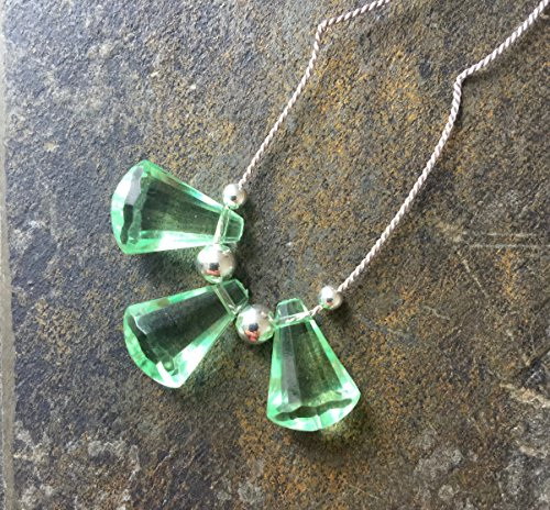20'' long necklace ELOISA // green lucite crystal pendant, silver color silk (Lucite Pendant)