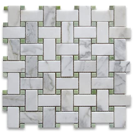 Calacatta Gold Italian Calcutta Marble Basketweave Mosaic Tile Green