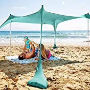 SUN NINJA Pop Up Beach Tent Sun Shelter UPF50+ with Sand Shovel, Ground Pegs and Stability Poles, Outdoor Shad