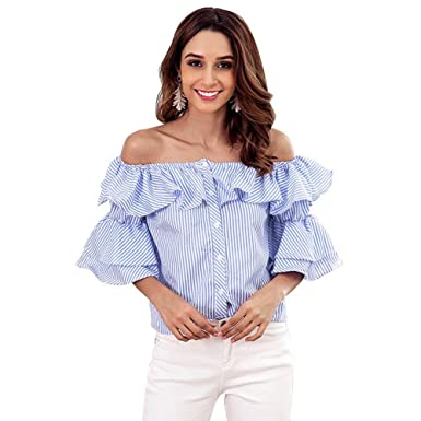 c7a238779e1a2 FTVOGUE Women Sexy Blouses Blue Striped Off-Shoulder Ruffle Flared Bell  Sleeves Casual Button Down Shirt Top  Amazon.co.uk  Clothing