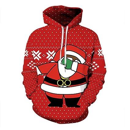 YYHSO Clásico 3D Impreso Tímido Papá Noel Unisexo Sudaderas con Capucha Rojas Navidad Divertida Sweatshirts Transpirable