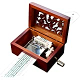 YouTang Vintage Carved Wood 15 Note Mechanism Musical Box Handcrank Music Box Gift