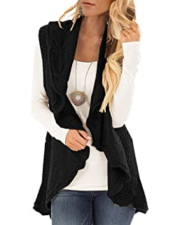 72fc2d9a1d Womens Sweater Vest Plus Size Cable Knit Open Front Cardigans Fall Jackets  Winter Coats Outwear