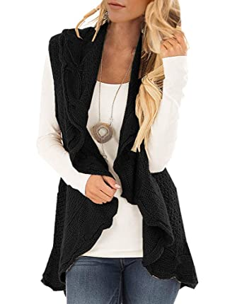ec2cbd45ad Womens Sweater Vest Plus Size Cable Knit Open Front Cardigans Fall Jackets  Winter Coats Outwear (