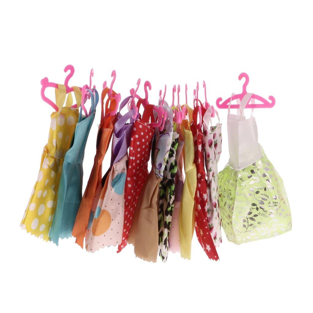 Gazechimp Set 24 Robes Jupe Soir/ée Bal avec 12 Paires Chaussures Haut Talon Pour Poup/ées Barbies