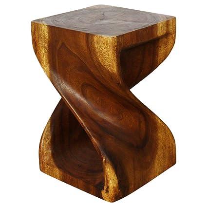 Beau Twist Stool 12x12x18 Inch H Sust Monkey Pod Wood W Eco Friendly Livos  Walnut Oil