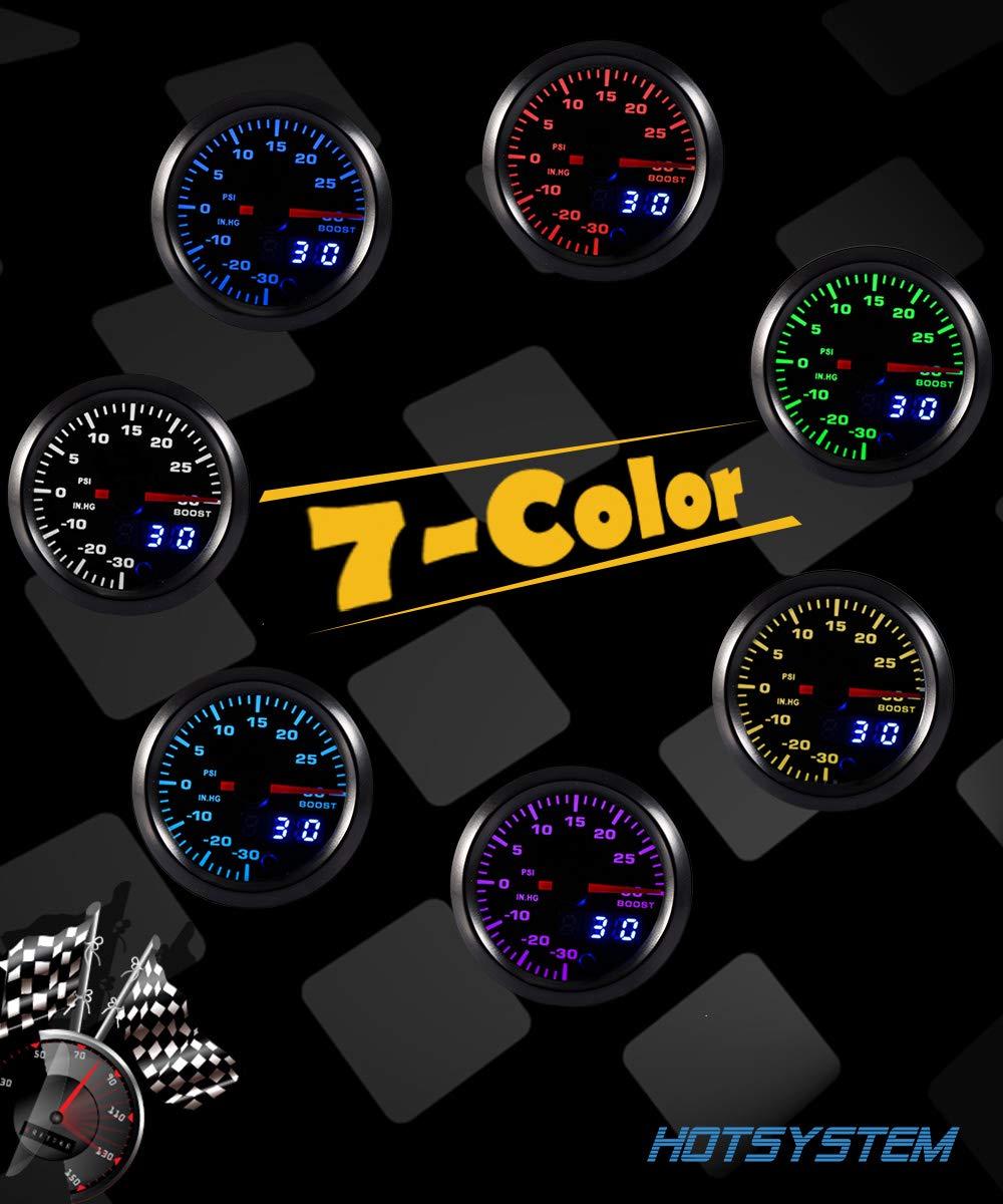 HOTSYSTEM 7 Color Turbo Boost//Vacuum Gauge Kit Pointer /& LED Digital Readouts 2-1//16 52mm Black Dial for Car Truck Bar