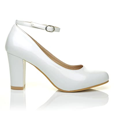 ZARA White Patent Block Heel Ankle Strap Round Toe Court Shoes ...