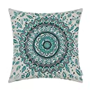 CaliTime Cushion Cover Throw Pillow Shell Floral Compass Medallion 18 X 18 Inches Teal