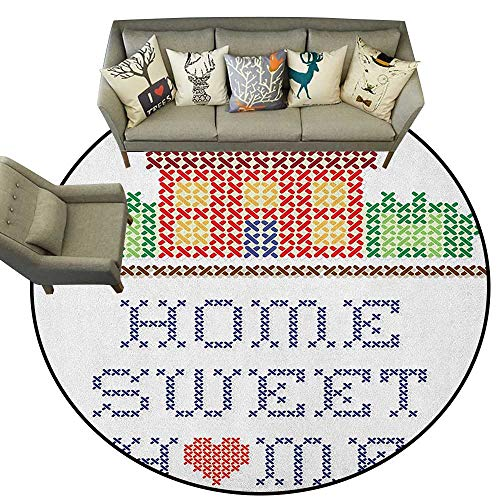 - Home Sweet Home,Woman Yoga Mat Colorful Graphic Style Cross Stitch Embroidery Design Needlework Theme D40 Round Rug Non-Slip Crawling Carpet