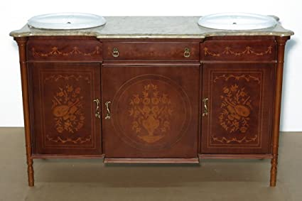 Amazon.com: Antiques Italian Mahogany Walnut Marquetry Bathroom ...