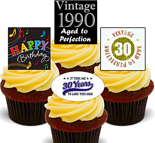 Surprising 30Th Birthday Male Edible Cupcake Toppers Stand Up Wafer Cake Birthday Cards Printable Giouspongecafe Filternl