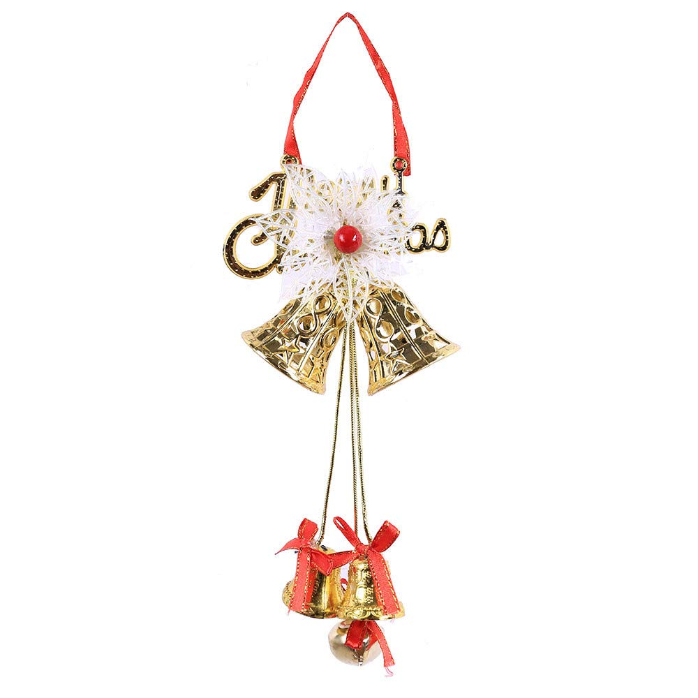 Christmas Tree Decorations, Jchen(TM) Happy Year Christmas Decor 1 PC Plastic Christmas Bell Pendants Xmas Tree Hanging Ornament Party Decor (Gold)
