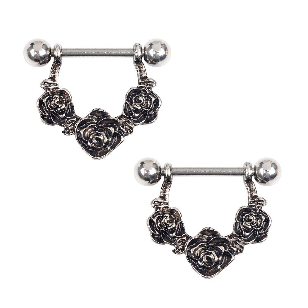 BODYA Stainless Steel vintage black filigree drop rose flower link Nipple  Shield Barbell Barbells ring 14 Gauge Pair  Amazon.co.uk  Jewellery c7a0c0cbba72