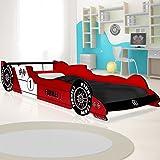 Lit voiture F1 enfant design Formule 1 - rouge - coins arrondis