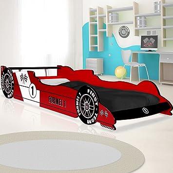 Deuba Lit enfant Voiture Formule 1 F1 Rouge - 90 cm x 200 cm ...