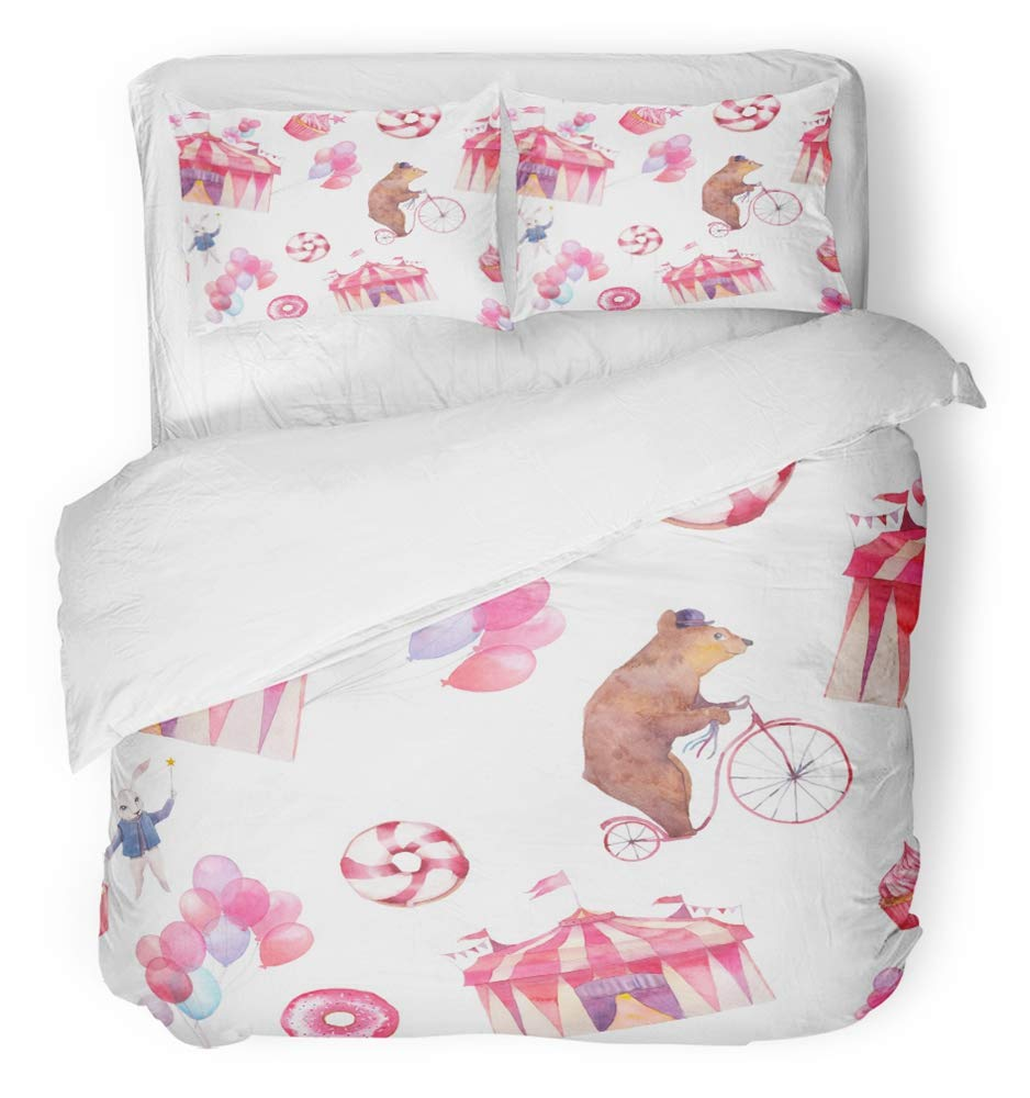 Emvency 3 Piece Duvet Cover Set Breathable Brushed Microfiber Fabric Watercolor Circus with Air Balloons Sweet Donuts Party Cupcakes and Cartoon Bedding Set with 2 Pillow Covers Full/Queen Size