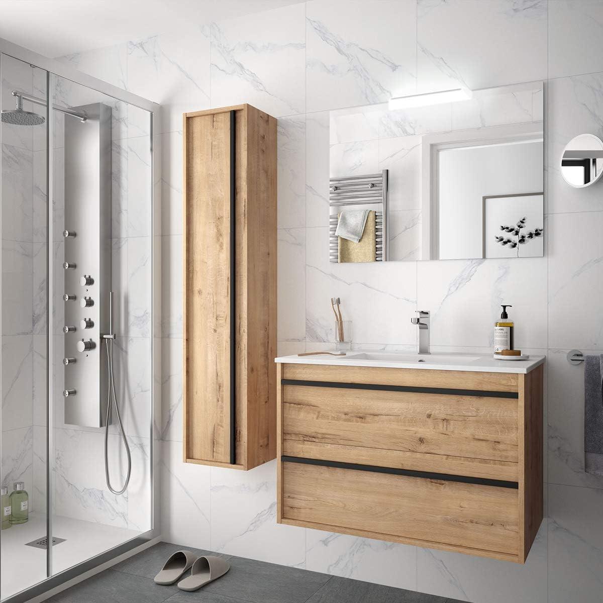 - Mobile Bagno sospeso Legno Modello Attila 80 cm con lavabo Specchio LED e Colonna Varie Colorazioni Completa Yellowshop Bianco Lucido