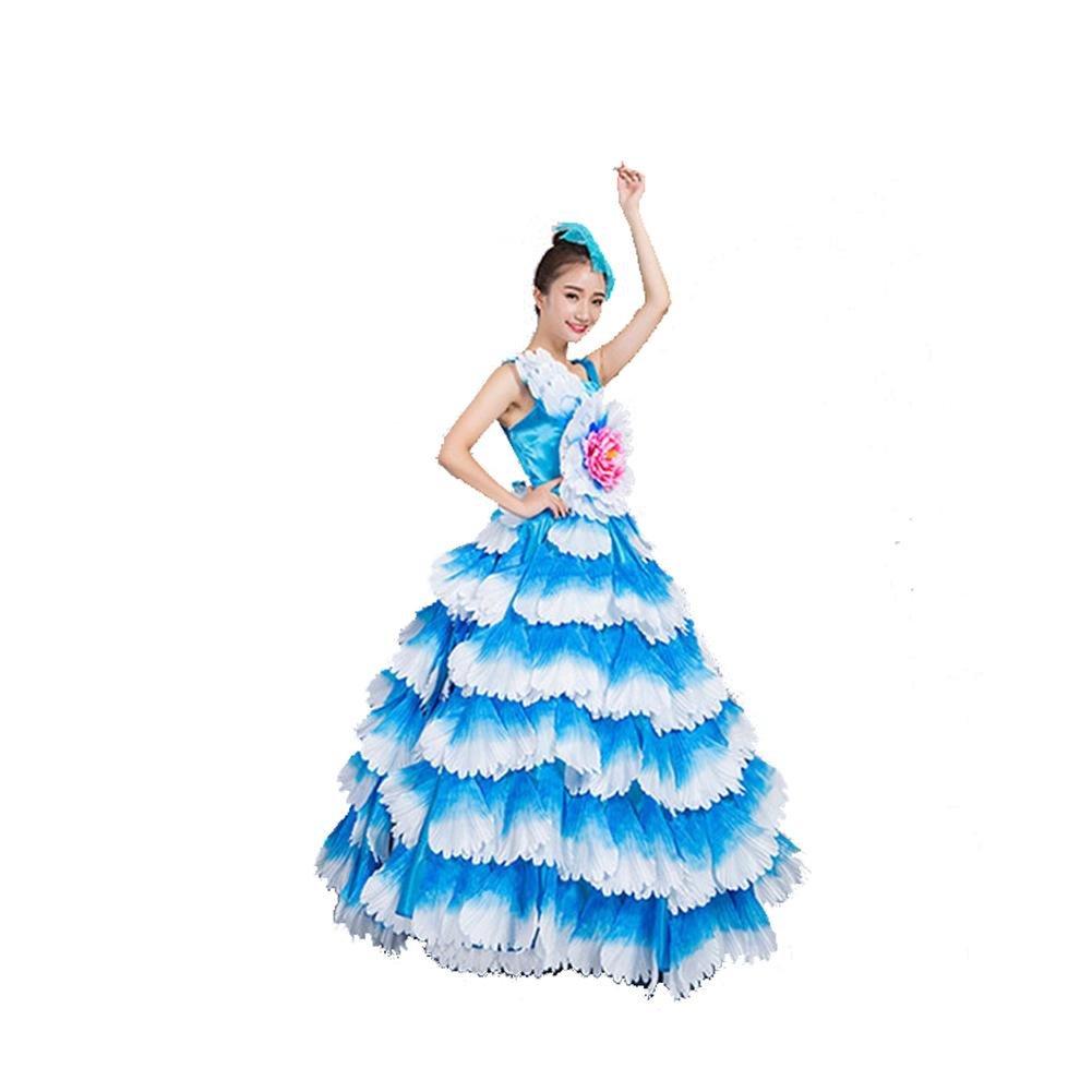 Bleu skirt 360 Wgwioo femmes Flamenco Dress 180 360 540 720 Devert sans Manches Entreprise Affaires Scolaires Fleurs Pétales Jupe Scène Ouverture Danse Robe Perforhommece Chorus L