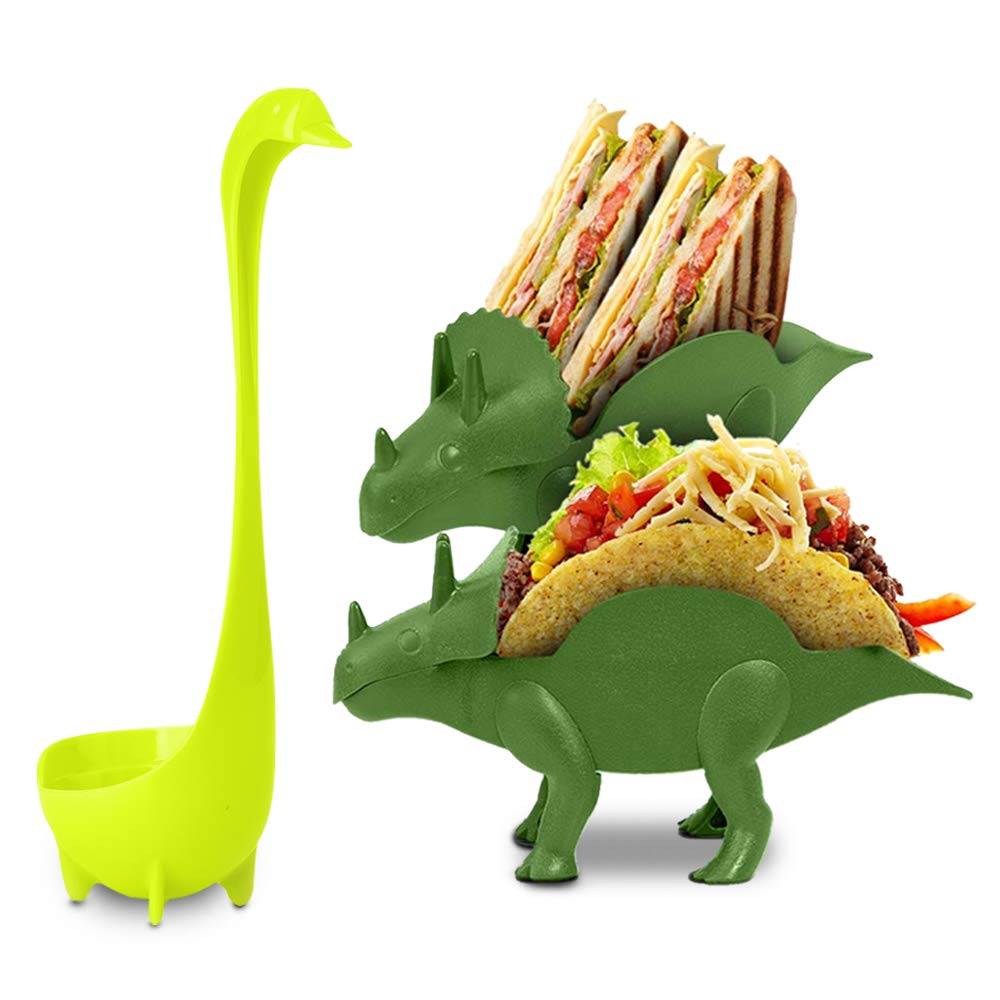 Dinosaur Taco Holder Set by East World – Tacosaur Twins with BONUS BrontoSpoon - 2x Dino Stands for 4x Jurassic Tacos! Triceratops Taco Stand Holder, Plastic Novelty Taco Plates for Kids or Taco Truck