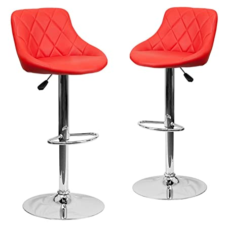 Belleze Leather Adjustable Bar Stools with Back, Set of 2, Counter Height Swivel Stool Coral Red