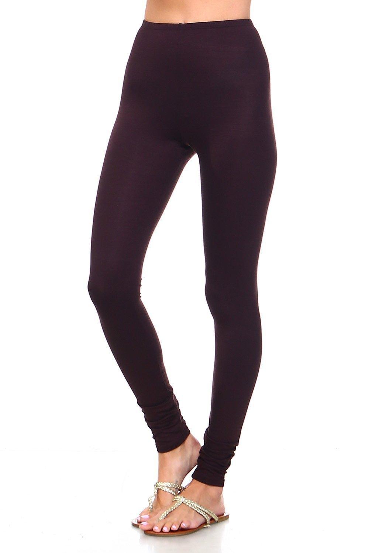 Simplicitie Women's Premium Ultra Soft High Waist Leggings - Brown, Large - Made in USA