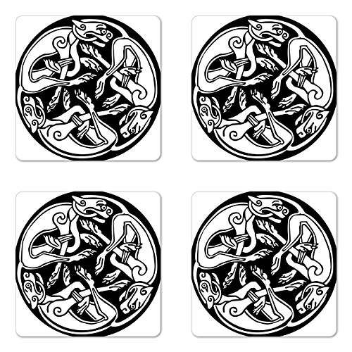 - Lunarable Celtic Coaster Set of 4, 3 Dogs Biting Their Tails Animal Forms Vikings Heritage Celtic Knots Medallion, Square Hardboard Gloss Coasters for Drinks, Black White