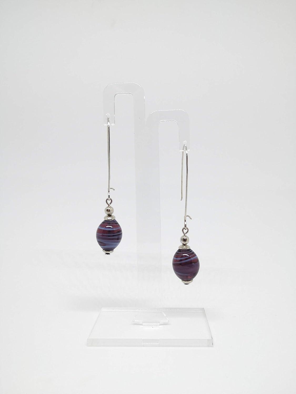 Orecchini con perle in vetro di Murano viola