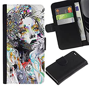 A-type Arte & diseño plástico duro Fundas Cover Cubre Hard Case Cover para Apple (4.7 inches!!!) iPhone 6 / 6S (Woman Colorful Abstract Style)