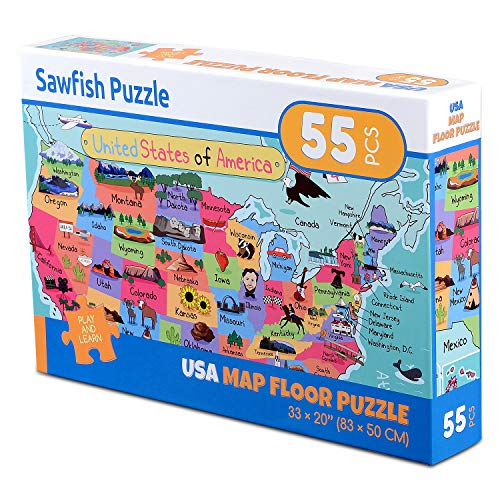 - Sawfish Puzzle Floor Puzzle United States Map for Toddlers, Kids Puzzles for Age 4+,Jumbo Jigsaw Puzzles (55 pcs, 31x21 in)