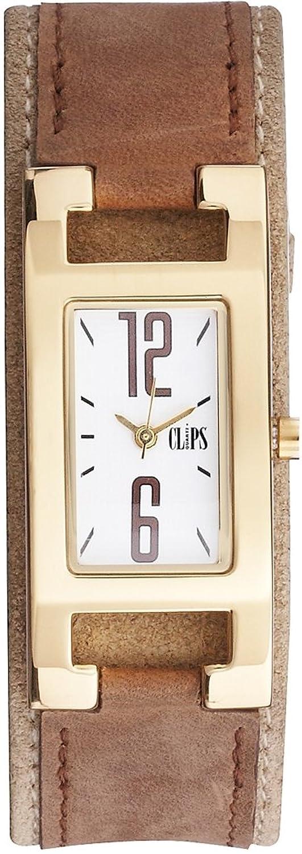 Clips Damen-Armbanduhr Analog Quarz Leder 553-1006-13
