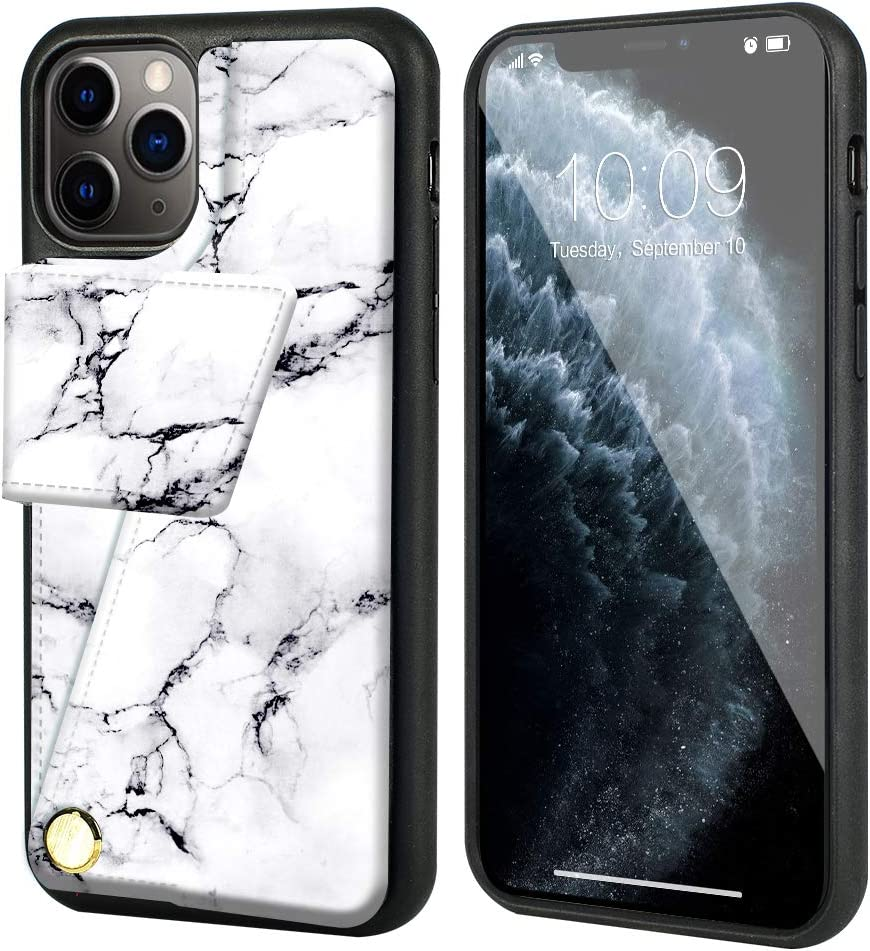 iPhone 11 Pro Max Wallet Case, iPhone 11 Pro Max Card Holder Case, ZVEdeng iPhone 11 Pro Max Leather Case Rotational Wallet Case Slim Handbag for iPhone 11 Pro Max 6.5inch-White Marble