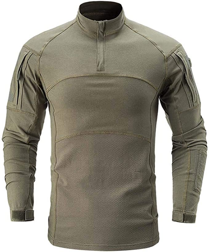 AKARMY Mens Tactical Military Combat Slim Fit Camo Shirt with Zipper