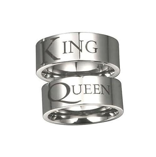 AMDXD Gioielli 8MM Anelli di Coppia Acciaio Inossidabile King Queen Argento  Fede Nuziale Matrimonio Anello Amazon.it Gioielli