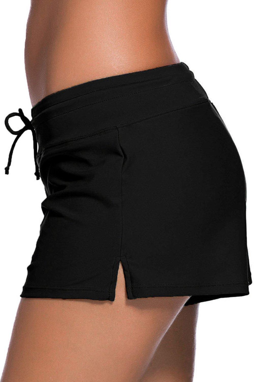 Wetopkim Women\'s Side Split Solid Workout Board Shorts Swim Shorts Trunks Boardshorts
