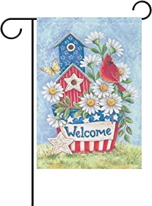 Wamika Welcome Spring Birds Butterfly Garden Flag 12 x 18 Double Sided Flags Cardinal Red Bird Birdhouse Daisy Flowers Summer Yard Outdoor House Flag Banner Home Patriotic American Decorations