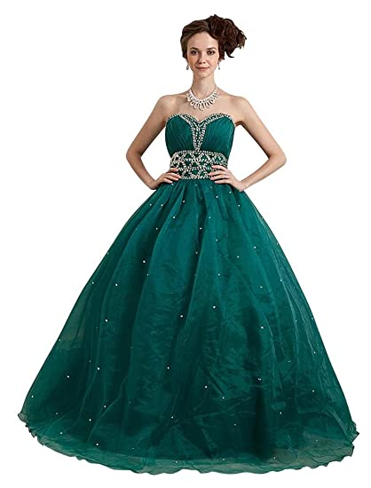 GEORGE BRIDE Impressive Sweetheart Organza Prom Dress Size 4 Green