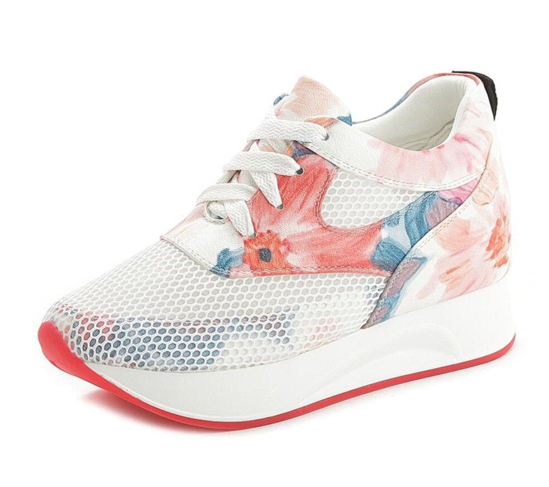 DANDANJIE Frauen Sportschuhe Mesh-Oberfläche erhöht Schuhe Floral Casual Travel Schuhe Hohlen Niedrigen Oberen Atmungsaktive Schuhe
