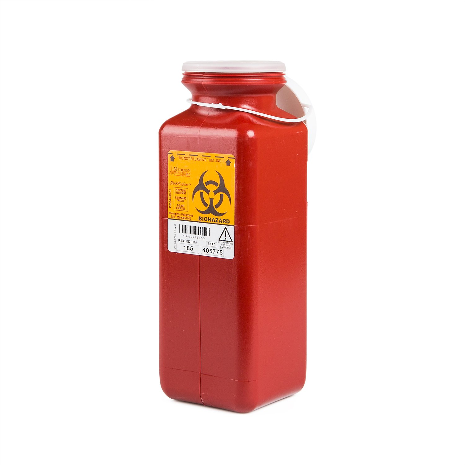 Medegen Medical Products 185 Non-Stackable Sharps Containers, Tall Tray Size, Locking Cap, 3-1/2'' x 3-1/2'' x 10'', Red (Pack of 20) by Medegen Medical Products