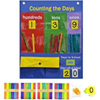 Children Educational Number Pocktet Chart with Magnet,Number Cards and Counting Sticks