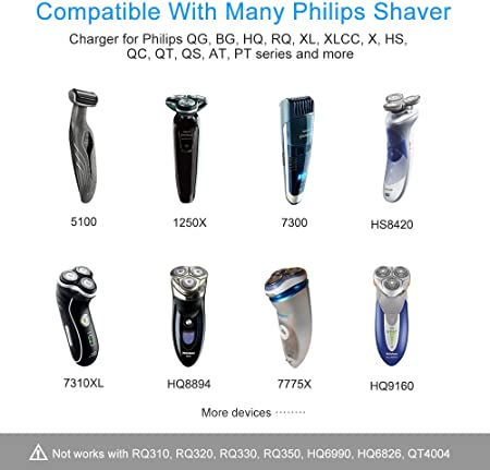 BERLS Cargador de afeitar de 15 V Adaptador de corriente para Philips Shaver Series 3000/7000/9000 Norelco QG, BG, HQ, RQ, XL, XLCC, X, HS, QC, QS, PT Series